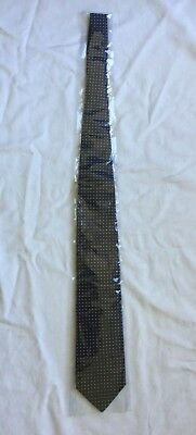 T.M.Lewin 100% Woven Silk Tie, Navy Blue and white dot geometric design. New