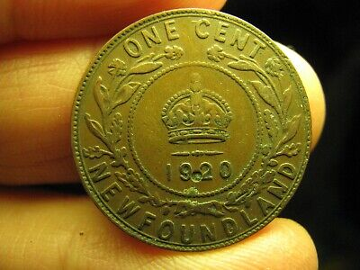 Canada Newfoundland large 1 Cent 1920 coin George V
