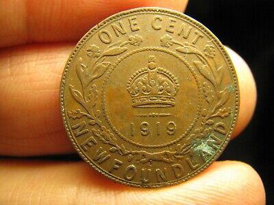 Canada Newfoundland large 1 Cent 1919 coin George V