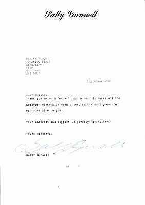 sally gunnell signed photo and letter please read descriiption