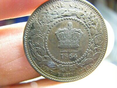 Canada New Brunswick large 1 Cent 1864 coin Victoria