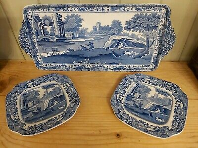 Copeland Spode Italian Blue White Sandwich Serving Plate And 2 Matching Side...