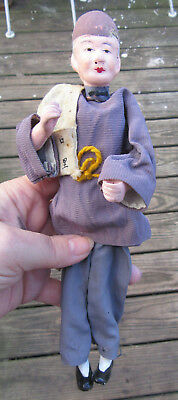 """Old Antique 9""""   plaster wired Oriental CHINESE  MAN Figurine or Doll"""