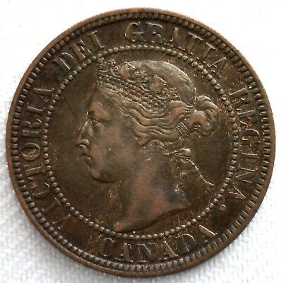 1896 Canada Large Cent Bronze Coin One Cent Canadian Coin 1c XF Extra Fine
