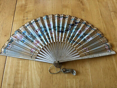 Antique hand painted Paper Asian Hand Fan