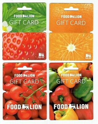 FOOD LION Gift Cards Collectible Fruits & Vegetables GROCERY- No Value- LOT of 4