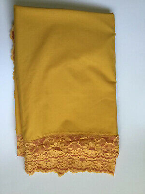 """VTG Solid Yellow Orange Lace Edge Cotton Polyester Tablecloth 60 x 82"""" Oblong"""