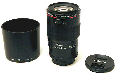 Canon Macro Lens EF 100mm 1:2.8 L IS USM Used Excellent w / Hood,Caps