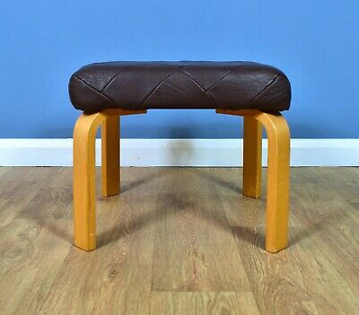 Mid Century Retro Vintage Danish Bentwood Purple Leather Foot Stool 1970s