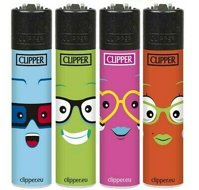 4 x Clipper Lighters FUNNY FACES Gas Lighter BLACK TOPS RARE Refillable SET NEW