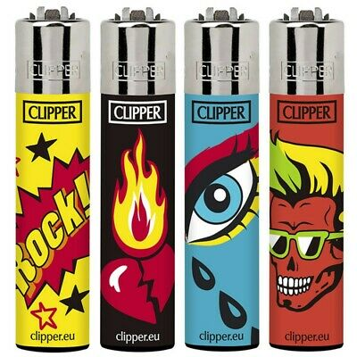 4 x Clipper Lighters ROCK AND FIRE Gas Lighter RARE Refillable SET NEW