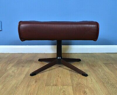 Mid Century Retro Vintage Danish Cognac Leather Swivel Foot Stool Ottoman 1970s