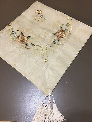 "Vtg Embroidery Sheer Organza 33"" Tablecloth Tassels Bronze Metallic Flowers F16"
