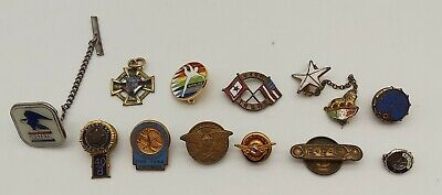 Vintage Tie Lapel Pins: KofC, NRA, U.S. Mail, AOPA, CYO, EFC, Over There ++