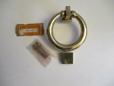 Vintage Door Knocker Chunky Solid Polished Brass Ring USA made with Hardware NOS