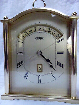 SEIKO MANTLE CLOCK with DAY DATE GOLD FINISH JAPAN QLC101G - PERFECT!!!