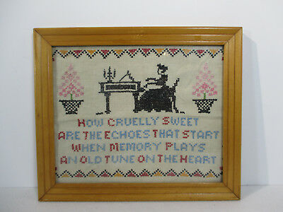 Cross Stitch Sampler Framed Glass Woman Piano Vintage Memory Heart Quote