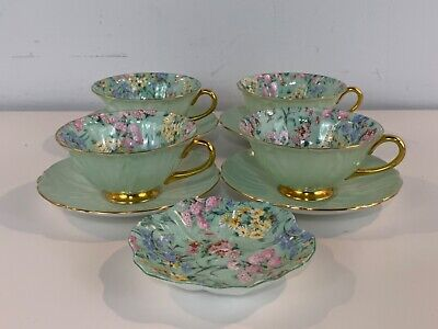 Shelley Porcelain Set of 4 Oleander Tea Cups & Saucers with Candy Dish