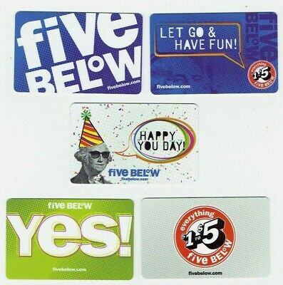 FIVE BELOW Collectible Gift Cards - LOT of 5 Diff - No Value - George Washington