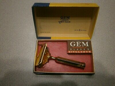 Vintage Gem Junior Safety Razor Gold Plated The Parade W/Box And Papers ***Nos**