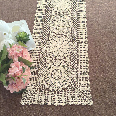 Vintage Hand Crochet Cotton Lace Table Runner Dresser Scarf Doily 13x33inch