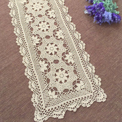 Ecru Vintage Hand Crochet Lace Doily Rectangle Table Runner Wedding Decor 15X47""