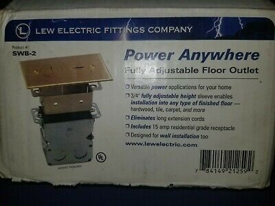 New Electrical Floor Box With Outlet And Brass Cover Plate Lew Electric Swb-2