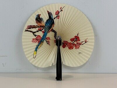 Chinese Bamboo Paper Folding Hand Fan with Floral Bird Decorations