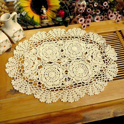 Vintage Hand Crochet Lace Doilies Oval Table Mat 12x17inch Floral Pattern