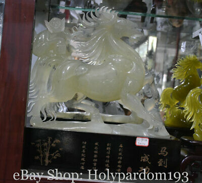 "19"" Chinese Natural 100% Xiu Jade Jadeite Carved Monkey On Horses luck Statue"
