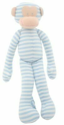 Alimrose Designs Baby Grab Cuddly Monkey Rattle Toy, Soft Blue and White Stripes