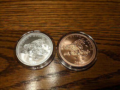 Provident Metals Zombucks Dying Eagle Silver Ag Copper Cu Rounds Airtite BU