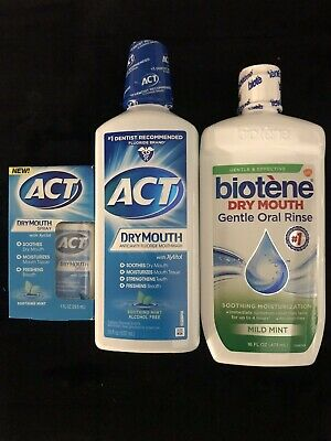 Dry Mouth Gentle Oral Rinse 1 Biotene 16oz ACT 18oz & 1 Dry Mouth Spray 1oz