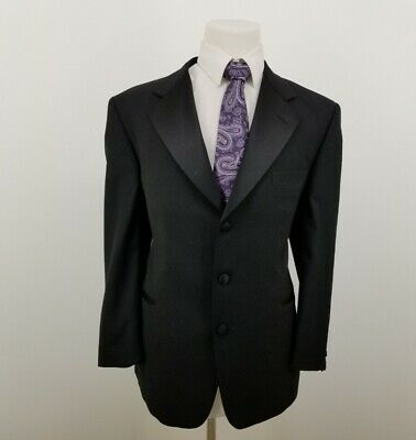 Vito Rufolo Mens Blazer Sport Coat Black 100% Wool Jacket Italy Made Sz 42R