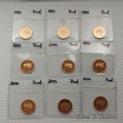 Lot of 9 Canada 1 Cent Pennies PROOF 1996-2004 Ultra Heavy Cameo #coinsofcanada