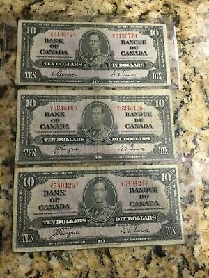 3 1937 $10 Bank Of Canada Bank Notes F- To Fine