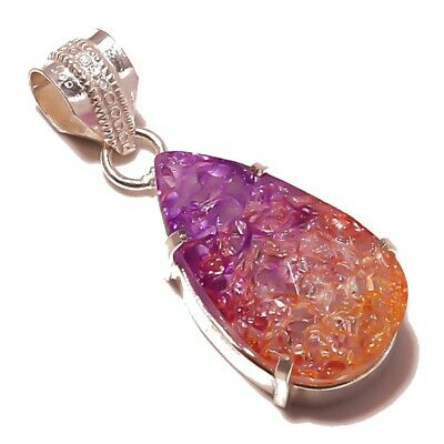 Best Gift For Girls!! Colorful Solar Druzy Silver Plated Handmade Pendant 1.75""