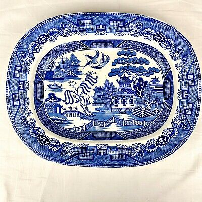 """Antique Large Staffordshire Blue Willow Platter 12 Mark on Back 11.25"""" x 14.25"""""""