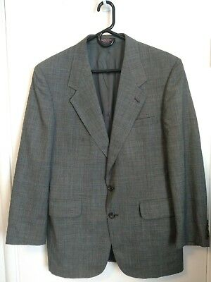 Evan Picone Mens Size 40R Gray Wool Houndstooth Sport Coat Jacket
