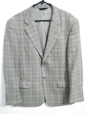 Baroni Couture Super 150s Wool Mens 42R Tan Black Houndstooth Plaid Sport Coat