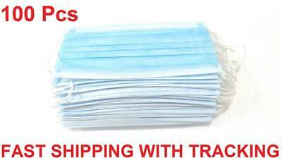 100 PCS Disposable Face Mask Surgical Medical Dental Industrial 3-Ply Blue