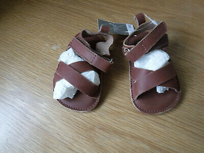 Next Mini Baby Boy Brown Leather Sandals Style Shoes Size 1 BNWT