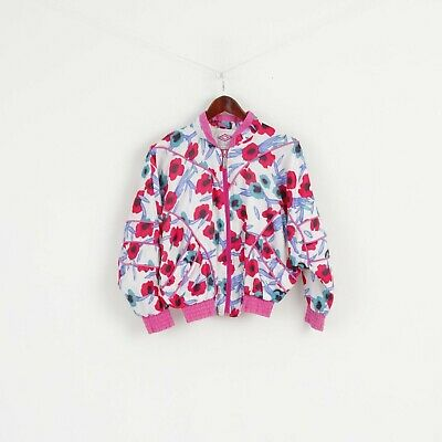 Diamond Cut By Umbro Girls 156 Jacket Pink Floral Bomber Zip Up Shpulder Pads Re