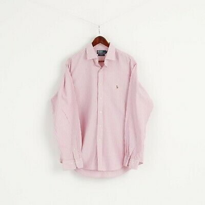Polo by Ralph Lauren Mens 17 43 XL Casual Shirt Pink Striped Cotton Custom Fit
