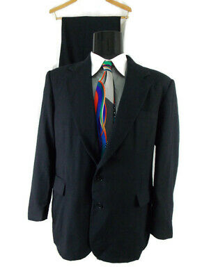 Haggar Mens Sz 42 Two Piece Wool Classic Fit Single Breast 2 Button Suit Black