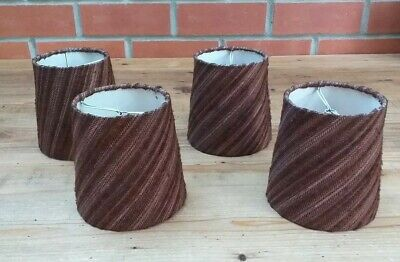 "VINTAGE RETRO X 4 SMALL BROWN  60s / 70s FABRIC LAMPSHADE 5"" MID CENTURY"