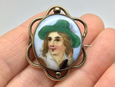 Antique Victorian Porcelain - Hand Painted - Cameo Brooch Pin