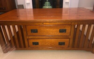 Large Oak Coffee Table in Arts & Crafts Style