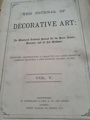 """Rare Old """"The Journal of Decorative Art"""" Vol V 1885 - House Painter,  Decorator"""