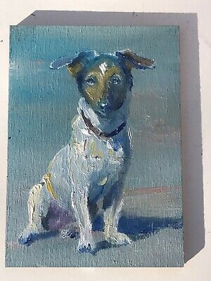 Original ACEO - William Jamison Miniature Oil Painting Jack Russell Terrier Dog